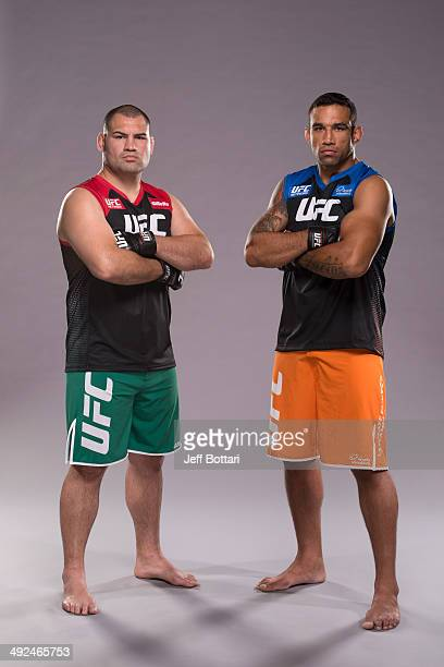 Coach Cain Velasquez and coach Fabricio Werdum pose for a portrait on media day during filming of The Ultimate Fighter Latin America on May 15 2014...