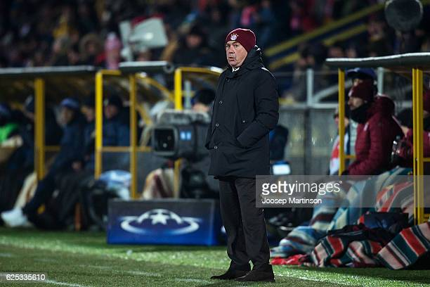Coach Carlo Ancelotti of FC Bayern Muenchen looks on during the UEFA Champions League match between FC Rostov and Bayern Muenchen at Olimp2 on...