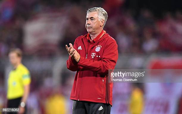 Coach Carlo Ancelotti of Munich reacts during the DFB Cup match between FC Carl Zeiss Jena and Bayern Muenchen at ErnstAbbeSportfeld on August 19...