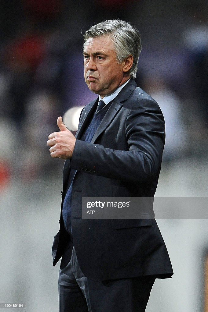 PSG coach Carlo Ancelotti reacts during the French ligue one football match versus Toulouse on February 1, 2013, at the municipal stadium in Toulouse.