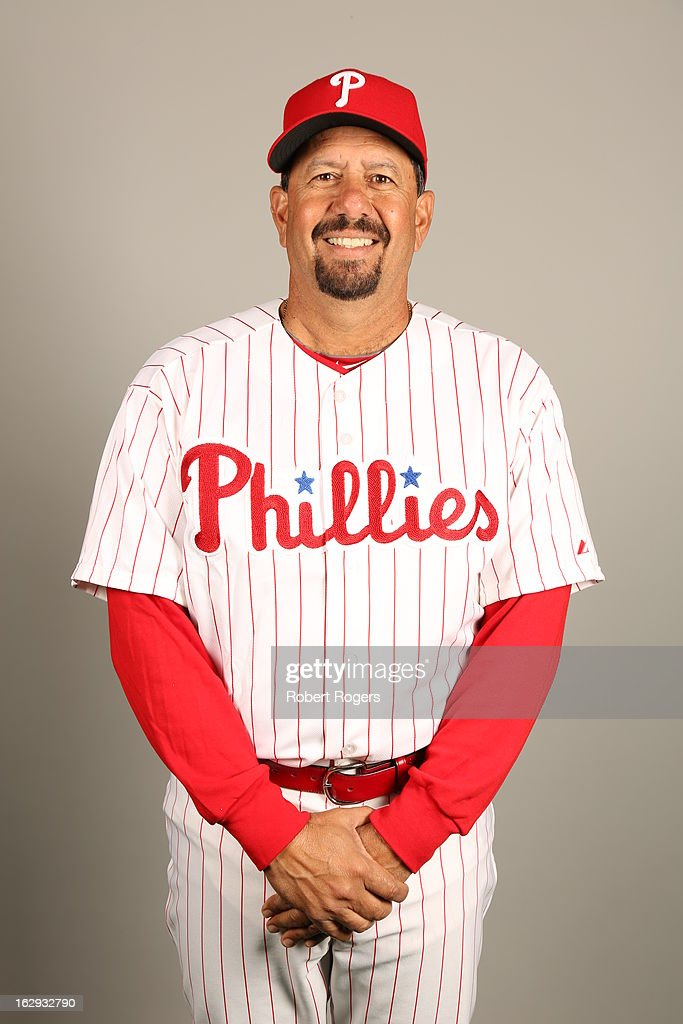 Coach <a gi-track='captionPersonalityLinkClicked' href=/galleries/search?phrase=Carlos+Arroyo&family=editorial&specificpeople=201991 ng-click='$event.stopPropagation()'>Carlos Arroyo</a> of the Philadelphia Phillies poses during Photo Day on Monday, February 18, 2013 at Bright House Field in Clearwater, Florida.