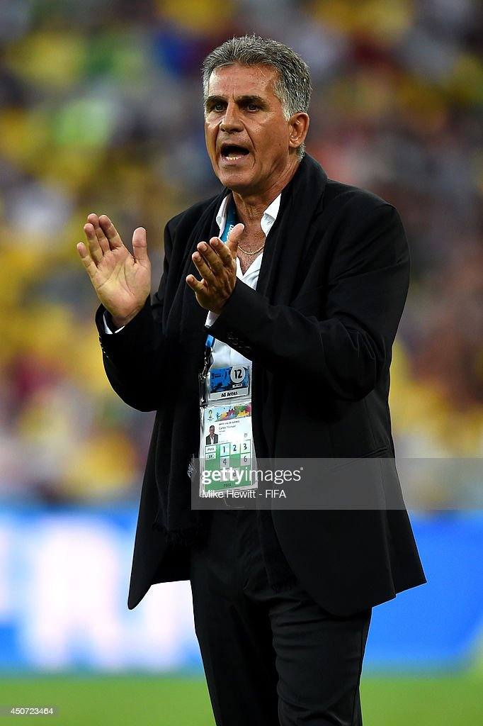Coach <a gi-track='captionPersonalityLinkClicked' href=/galleries/search?phrase=Carlos+Queiroz&family=editorial&specificpeople=211586 ng-click='$event.stopPropagation()'>Carlos Queiroz</a> of Iran reacts during the 2014 FIFA World Cup Brazil Group F match between Iran and Nigeria at Arena da Baixada on June 16, 2014 in Curitiba, Brazil.