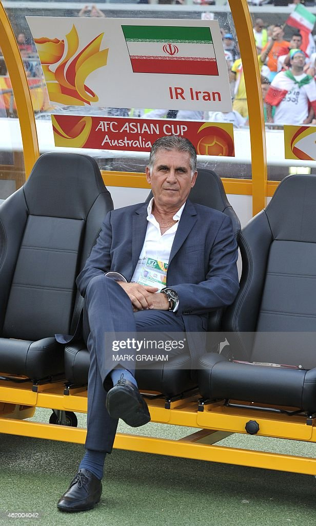 Coach Carlos Quieroz of Iran looks on during the Asian Cup quarter-final football match between Iraq and Iran in Canberra on January 23, 2015.