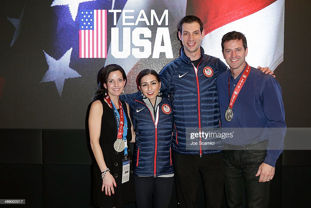 Coach Carrie Wall, U.S. Olympians <a gi-track='captionPersonalityLinkClicked' href=/galleries/search?phrase=Marissa+Castelli&family=editorial&specificpeople=6702347 ng-click='$event.stopPropagation()'>Marissa Castelli</a> and Simon Schnapir and coach Robert Martin visit the USA House in the Olympic Village on February 12, 2014 in Sochi, Russia.