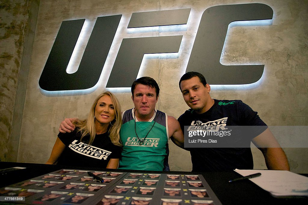 Coach <a gi-track='captionPersonalityLinkClicked' href=/galleries/search?phrase=Chael+Sonnen&family=editorial&specificpeople=5434559 ng-click='$event.stopPropagation()'>Chael Sonnen</a> poses with his team during the elimination fight between Jollyson Da Silva and Ewerton Rocha for season three of The Ultimate Fighter Brazil on January 12, 2014 in Sao Paulo, Brazil.
