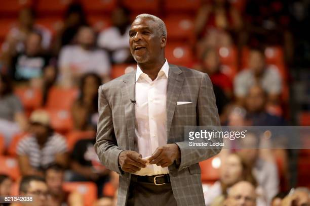 Coach Charles Oakley of Killer 3s reacts during the game against the Ghost Ballers during week five of the BIG3 three on three basketball league at...