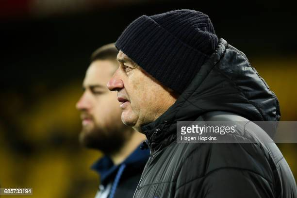 Coach Chris Boyd and Dane Coles of the Hurricanes look on during the round 13 Super Rugby match between the Hurricanes and the Cheetahs at Westpac...