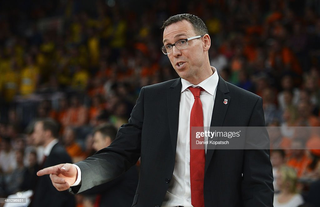 Coach <a gi-track='captionPersonalityLinkClicked' href=/galleries/search?phrase=Chris+Fleming&family=editorial&specificpeople=730495 ng-click='$event.stopPropagation()'>Chris Fleming</a> of Bamberg reacts during the Beko BBL Top Four semifinal match between Alba Berlin and Brose Baskets at ratiopharm arena on March 29, 2014 in Ulm, Germany.