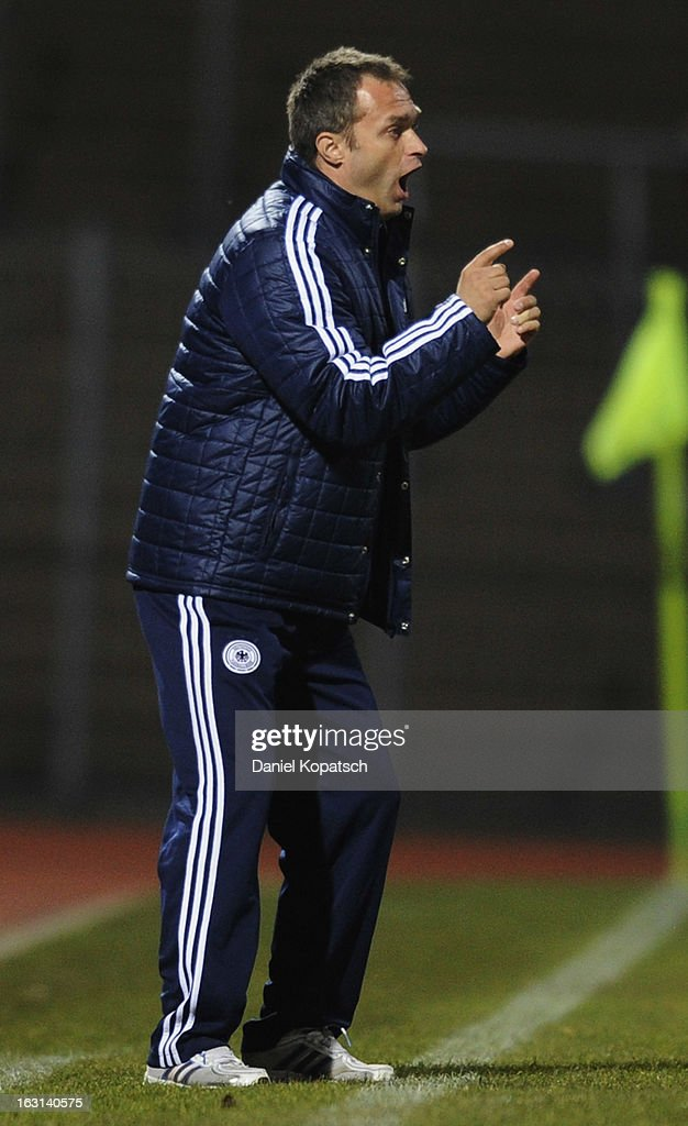 Coach Christian Wueck of Germany reacts during the U16 international friendly match between Germany and Italy on March 5, 2013 at Waldstadion in Homburg, Germany.