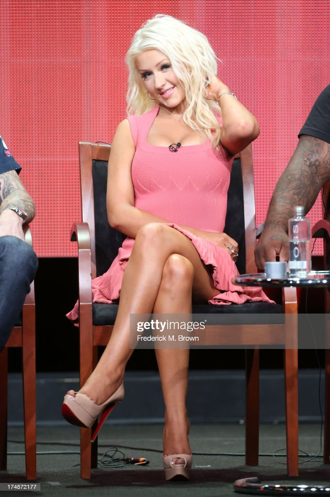 Coach Christina Aguilera speaks onstage during 'The Voice' panel discussion at the NBC portion of the 2013 Summer Television Critics Association tour - Day 4 at the Beverly Hilton Hotel on July 27, 2013 in Beverly Hills, California.