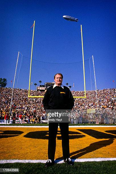Coach Chuck Noll of the Pittsburgh Steelers watches players warm up prior to Super Bowl XIV against the Los Angeles Rams at the Rose Bowl on January...