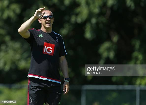 Coach Conor O'Shea of Harlequins during the team's training session at Neumann University on August 26 2015 in Aston Pennsylvania