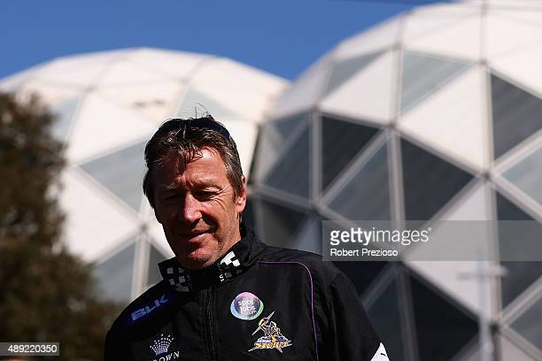 Coach Craig Bellamy arrives for a Melbourne Storm NRL fan day at Gosch's Paddock on September 20 2015 in Melbourne Australia