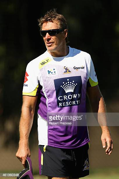 Coach Craig Bellamy looks on during a Melbourne Storm NRL preseason training session at Xavier College on January 12 2015 in Melbourne Australia