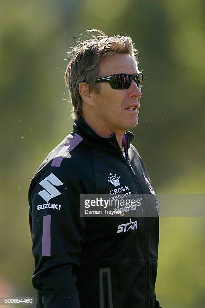 Coach Craig Bellamy looks on during a Melbourne Storm NRL preseason training session at Gosch's Paddock on December 11 2015 in Melbourne Australia