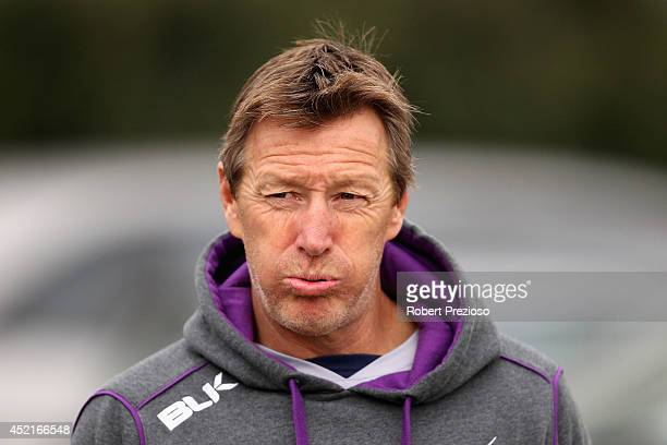 Coach Craig Bellamy looks on during a Melbourne Storm NRL training session at Gosch's Paddock on July 15 2014 in Melbourne Australia