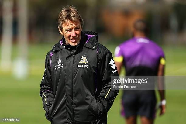 Coach Craig Bellamy looks on during a Melbourne Storm NRL training session at Gosch's Paddock on September 8 2015 in Melbourne Australia