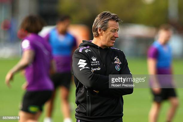 Coach Craig Bellamy looks on during a Melbourne Storm NRL training session at Gosch's Paddock on May 20 2016 in Melbourne Australia
