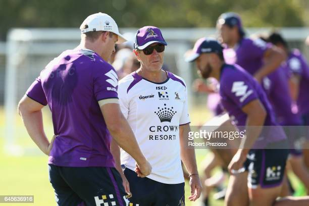 Coach Craig Bellamy looks on during the Melbourne Storm NRL training session at AAMI Park on February 27 2017 in Melbourne Australia
