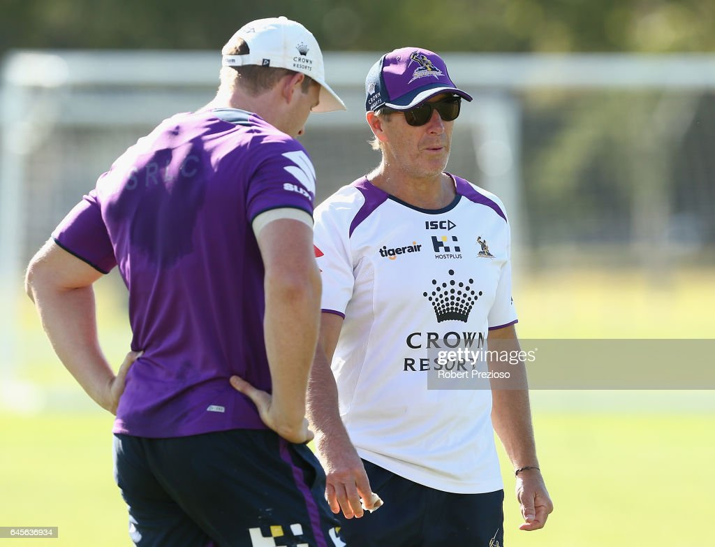 Coach Craig Bellamy looks on during the Melbourne Storm NRL training session at AAMI Park on February 27, 2017 in Melbourne, Australia.