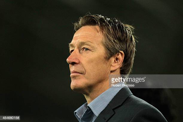 Coach Craig Bellamy of the Storm looks on during the round 26 NRL match between the Melbourne Storm and the Brisbane Broncos at AAMI Park on...