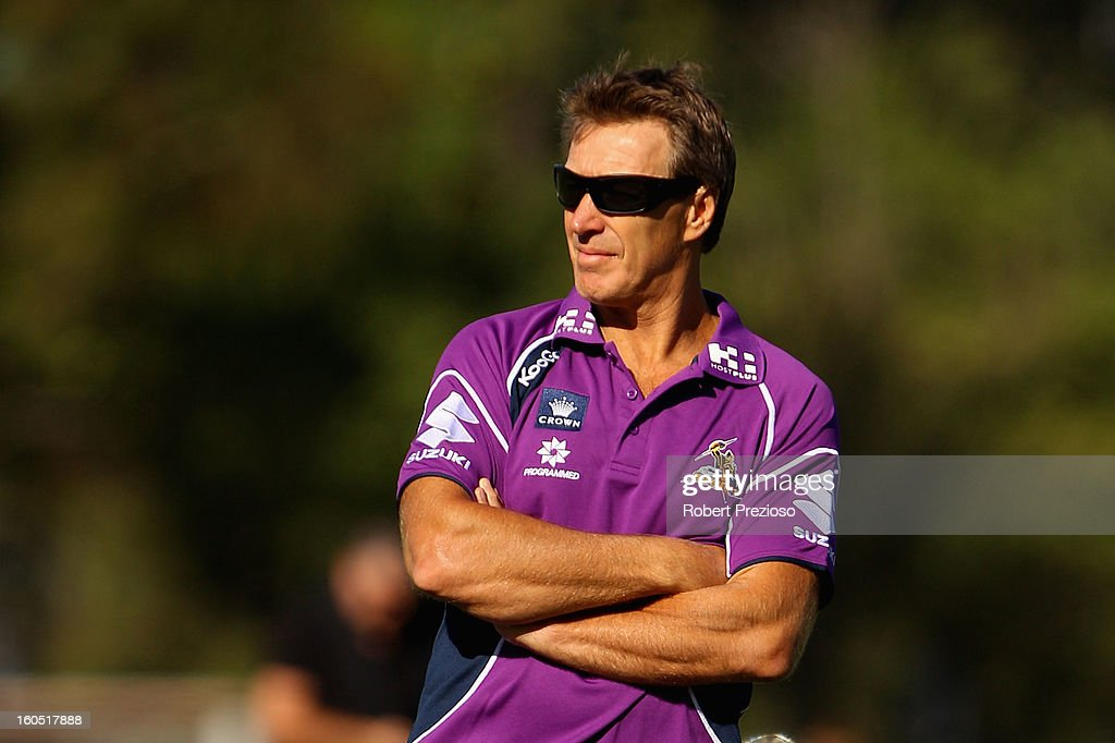 Coach Craig Bellamy of the Storm looks on prior to the NRL trial match between the Melbourne Storm and Brisbane Easts at Gosch's Paddock on February 2, 2013 in Melbourne, Australia.