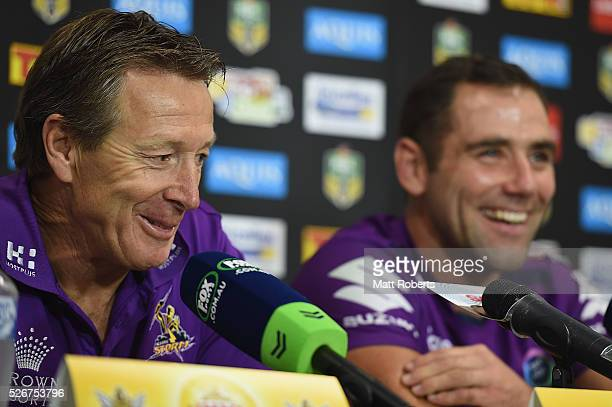Coach Craig Bellamy of the Storm speaks during a press conference after the round nine NRL match between the Gold Coast Titans and the Melbourne...
