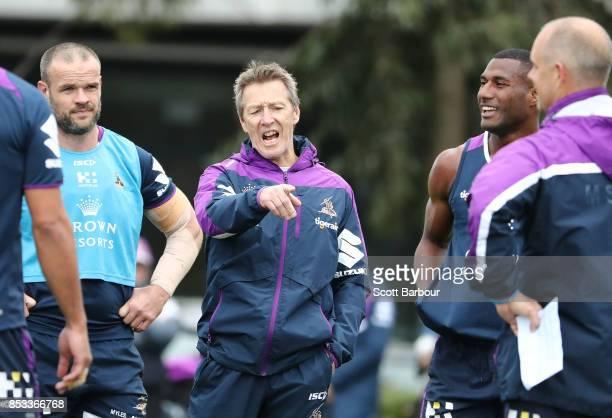 Coach Craig Bellamy speaks during a Melbourne Storm NRL training session at Gosch's Paddock on September 25 2017 in Melbourne Australia