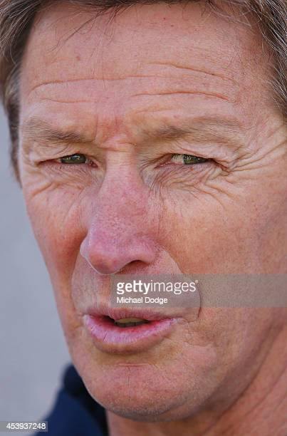 Coach Craig Bellamy speaks to media during a Melbourne Storm NRL training session at Gosch's Paddock on August 22 2014 in Melbourne Australia