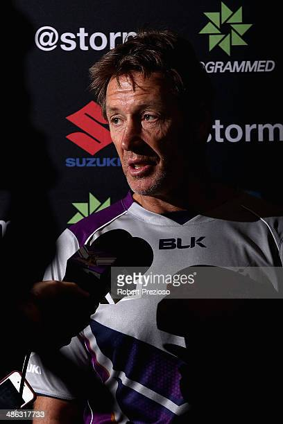 Coach Craig Bellamy speaks to the media during a Melbourne Storm NRL media session at AAMI Park on April 24 2014 in Melbourne Australia