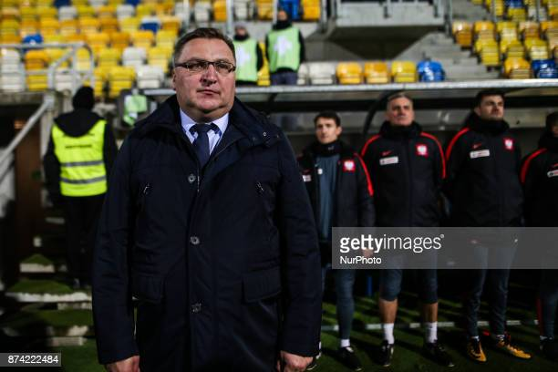 Coach Czeslaw Michniewicz during UEFA U21 Championship Qualifier match between Poland and Denmark on November 14 2017 in Gdynia Poland
