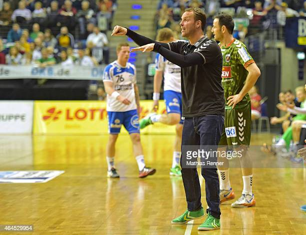 coach Dagur Sigurdsson of Fuechse Berlin gives instructions during the game between Fuechse Berlin and TBV Lemgo on February 26 2015 in Berlin Germany