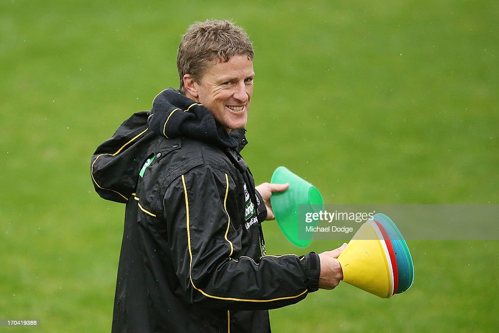 Coach Damien Hardwick during a Richmond Tigers AFL training session at ME Bank Centre on June 13, 2013 in Melbourne, Australia.