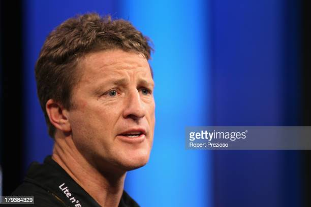 Coach Damien Hardwick speaks to the media during a Richmond Tigers AFL Finals Series Launch Media Session at Fox Sports on September 3 2013 in...