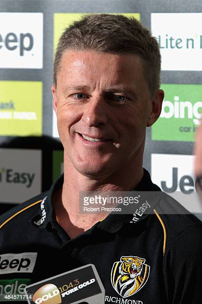 Coach Damien Hardwick speaks to the media during a Richmond Tigers AFL media session at ME Bank Centre on September 4 2014 in Melbourne Australia