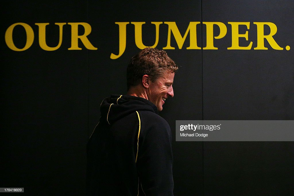 Coach Damien Hardwick walks to the Richmond Tigers AFL media session at ME Bank Centre on June 13, 2013 in Melbourne, Australia.