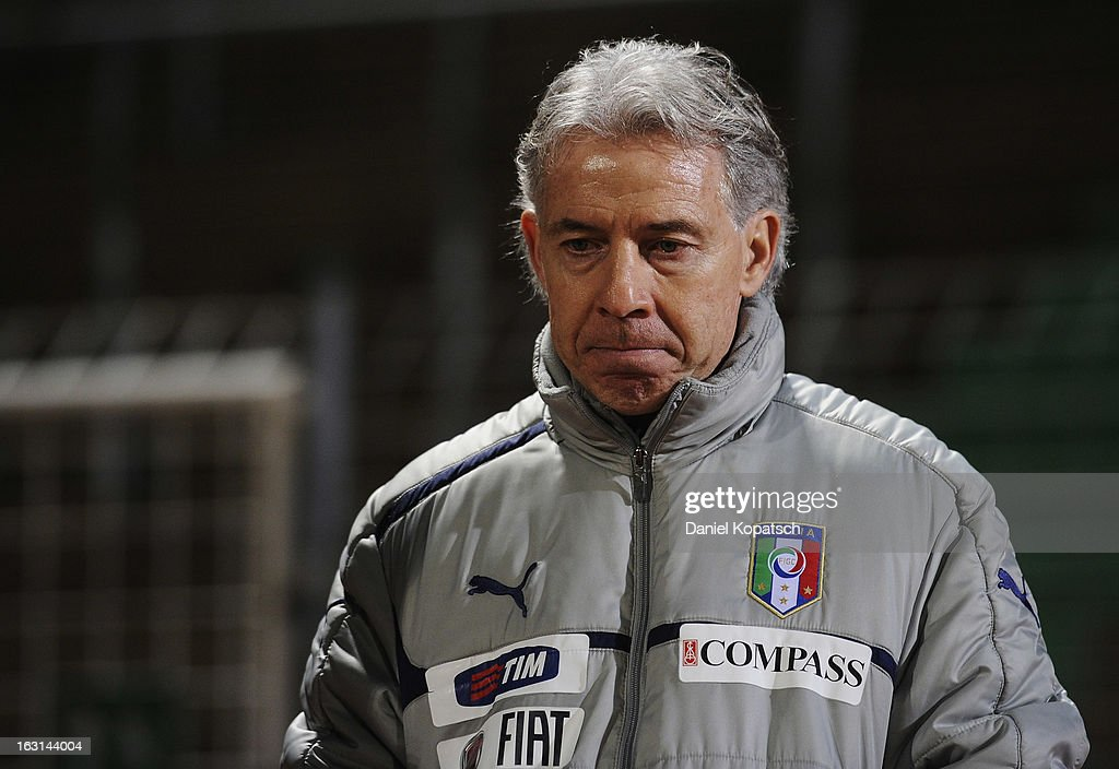 Coach Daniele Zorrato of Italy after the U16 international friendly match between Germany and Italy on March 5, 2013 at Waldstadion in Homburg, Germany.
