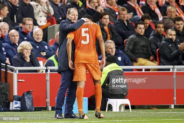 coach Danny Blind of Holland Jairo Riedewald of Holland during the EURO 2016 qualifying match between Netherlands and Czech Republic on October 10...