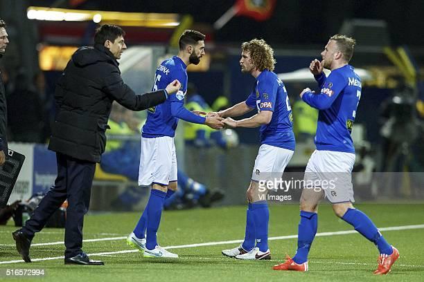 coach Darije Kalezic of Roda JC Marcos Gullon of Roda JC Arjan Swinkels of Roda JC Jordy Buijs of Roda JC during the Dutch Eredivisie match between...