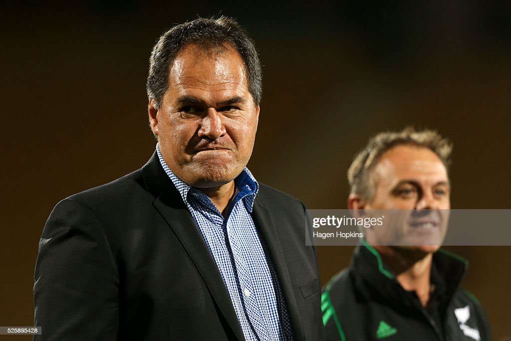 Coach Dave Rennie of the Chiefs and referee Chris Pollock look on during the round 10 Super Rugby match between the Chiefs and the Sharks at Yarrow Stadium on April 29, 2016 in New Plymouth, New Zealand.