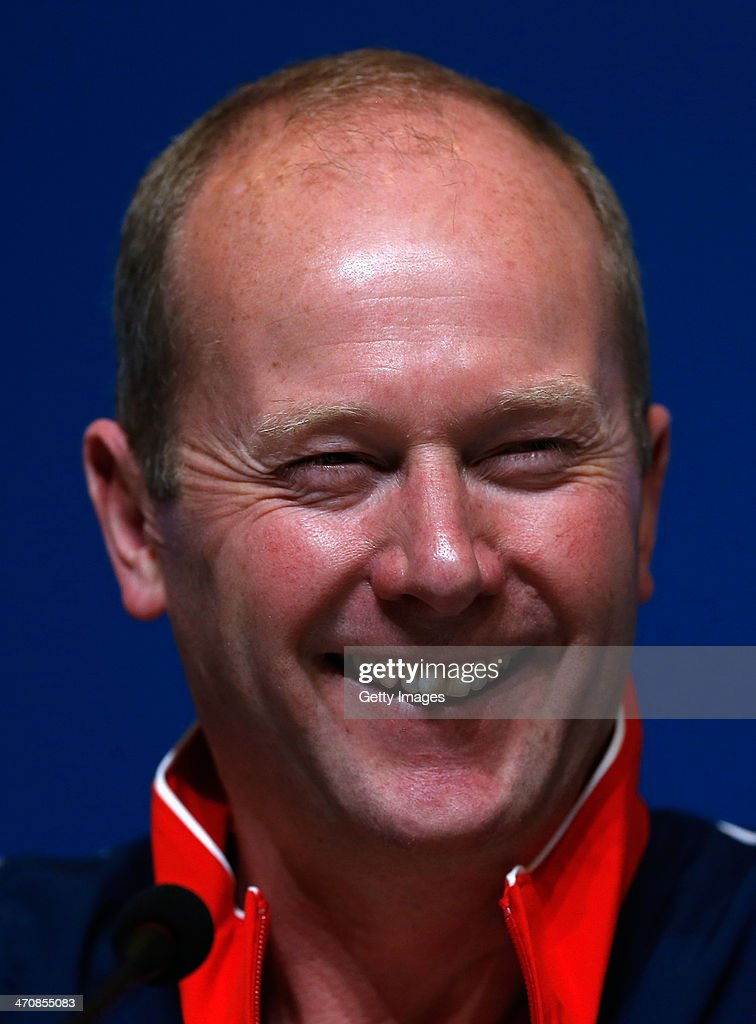 Coach David Hay of the Great Britain Curling team speaks with the media during a press conference after Team GB won the bronze medal on day 13 of the Sochi 2014 Winter Olympics at the Main Press Center (MPC) on February 20, 2014 in Sochi, Russia.