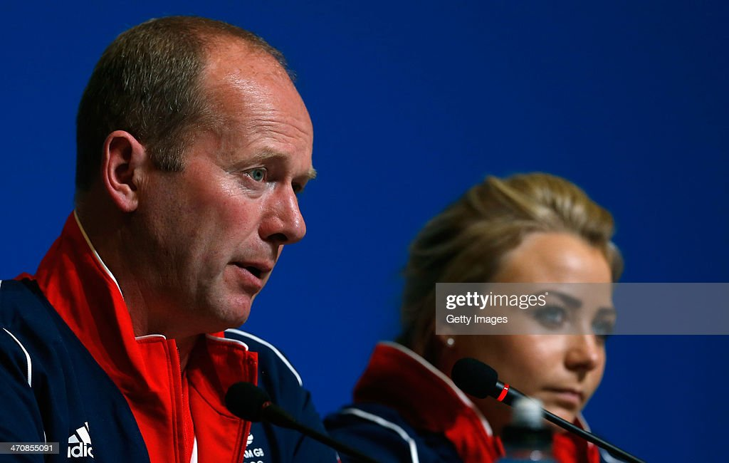 Coach David Hay of the Great Britain Curling team speaks with the media alongside Anna Sloan during a press conference after Team GB won the bronze medal on day 13 of the Sochi 2014 Winter Olympics at the Main Press Center (MPC) on February 20, 2014 in Sochi, Russia.