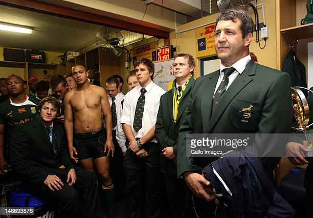 Coach Dawie Theron of South Africa talks to his team during the IRB Junior World Championships final match between South Africa and New Zealand at...