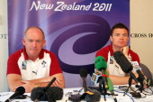 Coach Declan Kidney and Brian O'Driscoll of Ireland look on during a Ireland IRB Rugby World Cup 2011 press conference at Scenic Hotel Southern Cross...