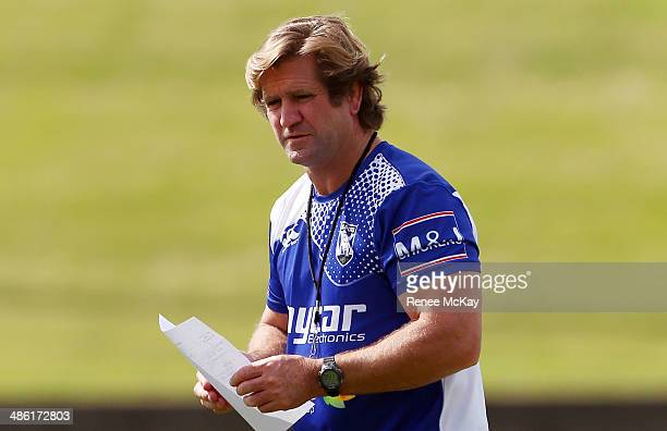 Coach Des Hasler arrives for a Canterbury Bulldogs NRL training session on April 23 2014 in Sydney Australia