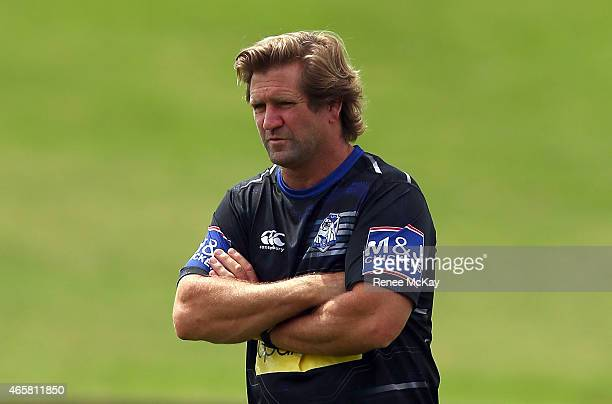 Coach Des Hasler Canterbury Bulldogs NRL training session at Belmore Sports Ground on March 11 2015 in Sydney Australia