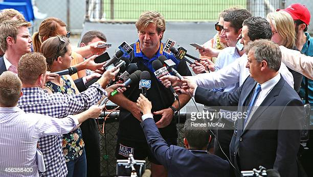 Coach Des Hasler talks to the media during a Canterbury Bulldogs NRL media session at Belmore Sports Ground on September 30 2014 in Sydney Australia