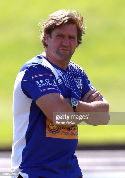 Coach Des Hasler watches on during a Canterbury Bulldogs NRL training session at Belmore Sports Ground on September 17 2014 in Sydney Australia