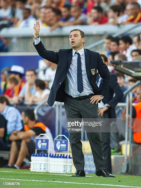 coach Devis Mangia of Italy U21 during the UEFA Euro U21 final match between Italy U21 and Spain U21 on June 18 2013 at the Teddy stadium in...