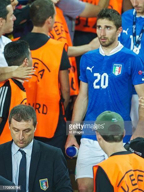 coach Devis Mangia of Italy U21 Fabio Borini of Italy U21 Riccardo Saponara of Italy U21 during the UEFA Euro U21 final match between Italy U21 and...